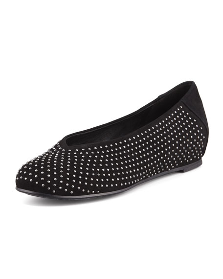 Patch 2 Suede Studded Flats, Black