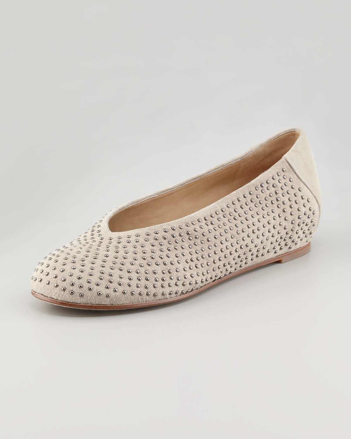 Patch 2 Suede Studded Flats, Almond