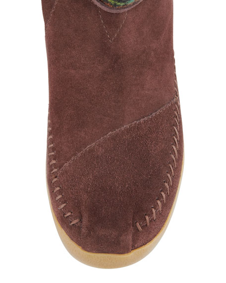 Striped Suede Nomad Boot, Brown