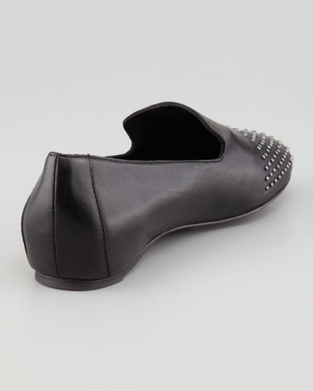 Ray Studded Leather Smoking Slipper, Black
