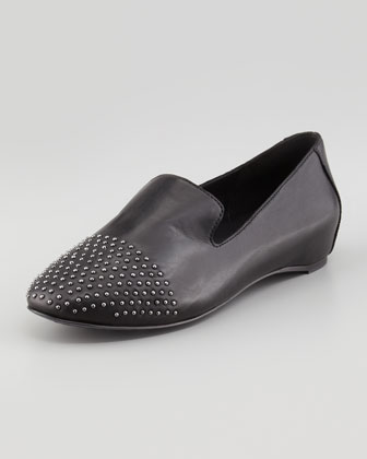 Ray Studded Leather Smoking Slipper, Black