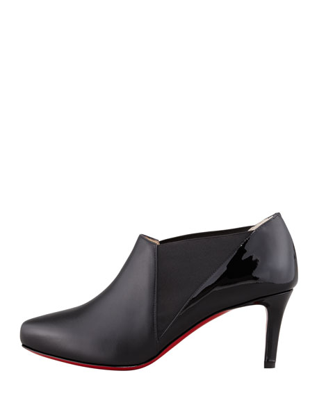 christian louboutin shoes replica - Christian Louboutin La Cicogna Low-Heel Red Sole Bootie, Black