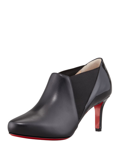 La Cicogna Low-Heel Red Sole Bootie, Black