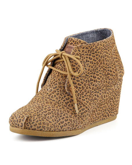 toms cheetah print wedge desert boot
