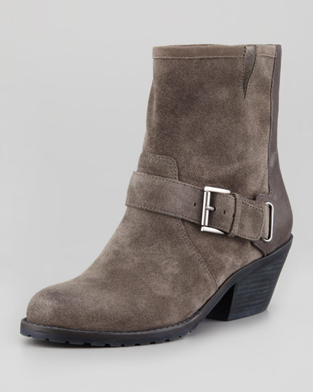 Hitch Buckled Ankle Boot, Ash