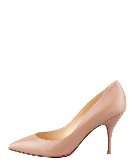 Piou Piou Patent Point-Toe Red Sole Pump, Nude