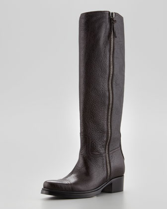 Low-Heel Side-Zip Knee Boot