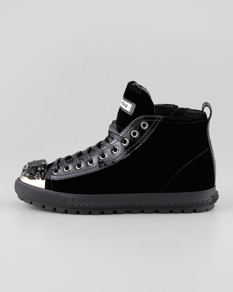 Jewel-Toe Velvet High-Top Sneaker, Black
