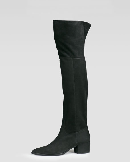 Flat Suede Over-the-Knee Boot, Black