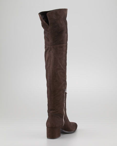 Suede Low-Heel Pointy Over-the-Knee Boot