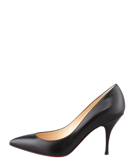 Christian Louboutin Piou Piou Leather Pointy Red Sole Pump, Black