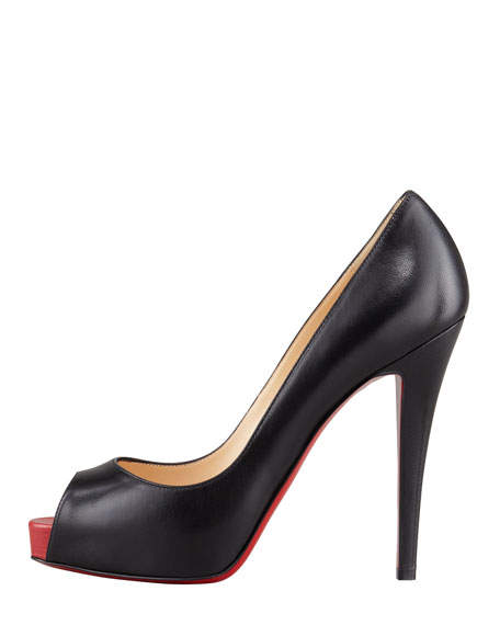 Very Prive Leather Platform Red Sole Pump, Black