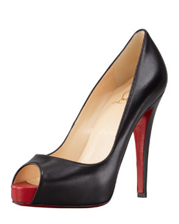 Christian Louboutin Very Prive Leather Platform Red Sole Pump, Black