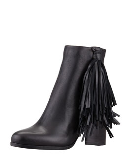 Christian Louboutin Jimmynetta Fringe Ankle Boot, Black