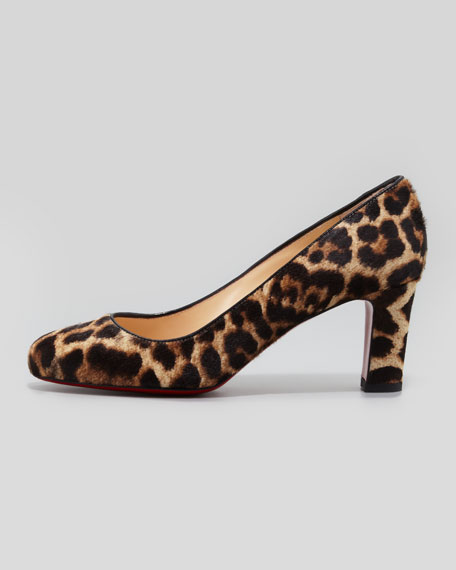 Mistica Low-Heel Calf Hair Red Sole Pump, Leopard