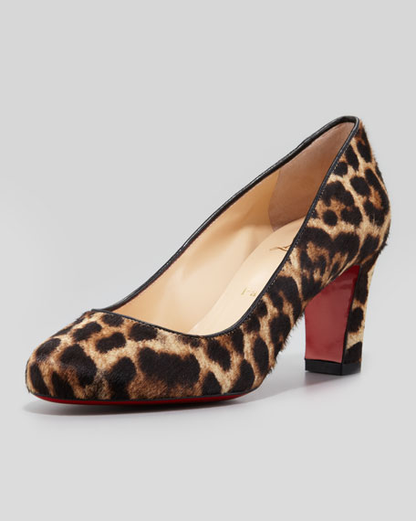 Christian Louboutin Mistica Low-Heel Calf Hair Red Sole Pump, Leopard