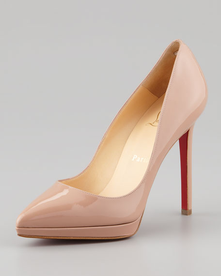 Pigalle Plato Patent Platform Red Sole Pump, Nude