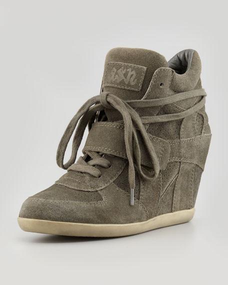Bowie Suede Wedge Sneaker, Green