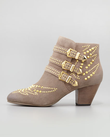 Joyce Studded Ankle Boot, Stone