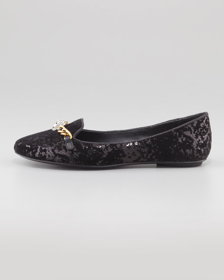 Ilka Sequined Skull Slipper, Black