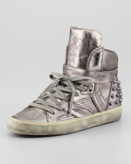 Skunk Metallic Hi-Top Sneaker, Silver