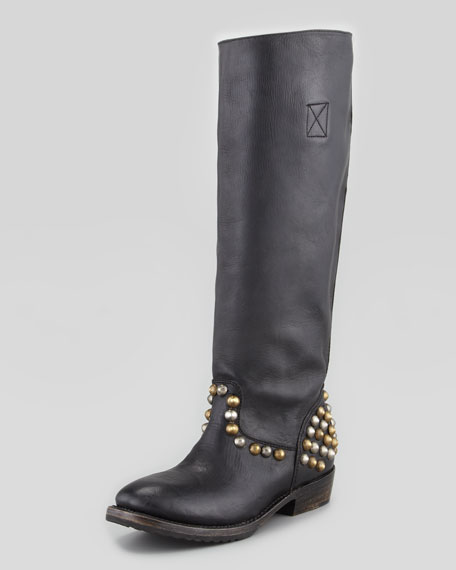 Vamos Bis Studded Leather Knee-Length Boot, Black