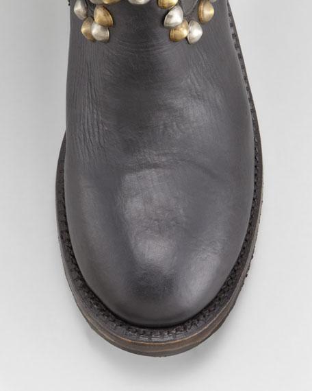 Vamos Bis Studded Leather Knee-Length Boot, Black