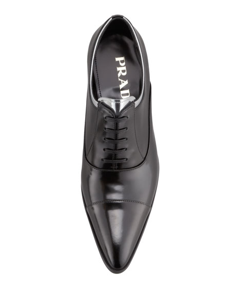 Pointed Cap-Toe Oxford, Black/Silver