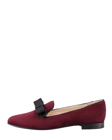 Suede Ribbon Bow Loafer, Garnet