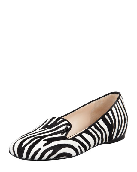 Prada Zebra-Print Calf Hair Loafer