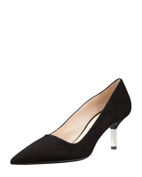Low-Heel Suede Pointed-Toe Pump, Black