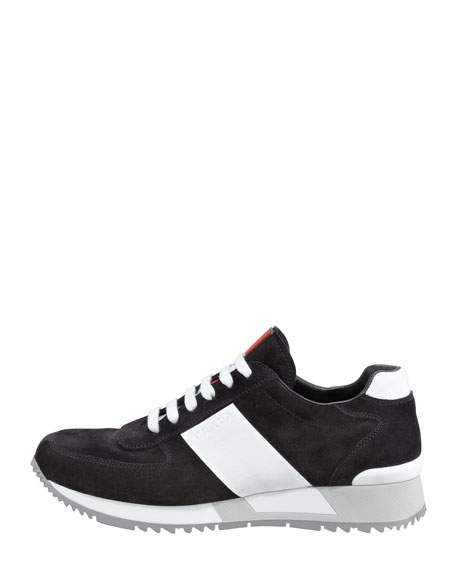 Two-Tone Chunky-Sole Suede Sneaker, Black/White