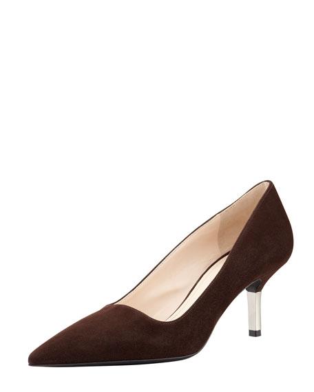 Low-Heel Suede Pointed-Toe Pump, Dark Brown