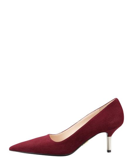 Low-Heel Suede Pointed-Toe Pump, Garnet