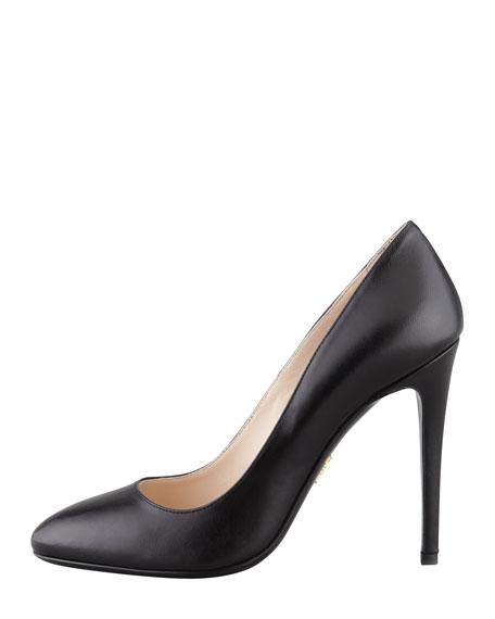 Round-Toe Leather Pump, Black