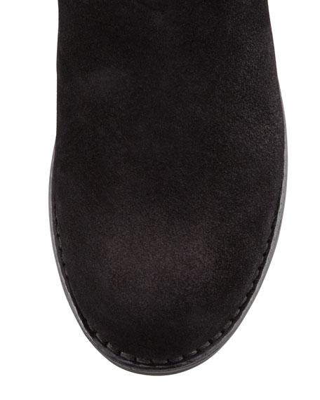Low-Heel Suede Mid-Calf Boot, Nero