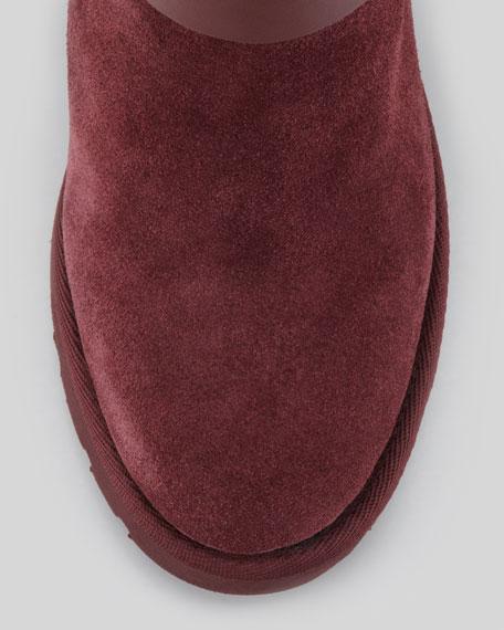 Yes Shearling-Cuff Wedge Boot, Burgundy