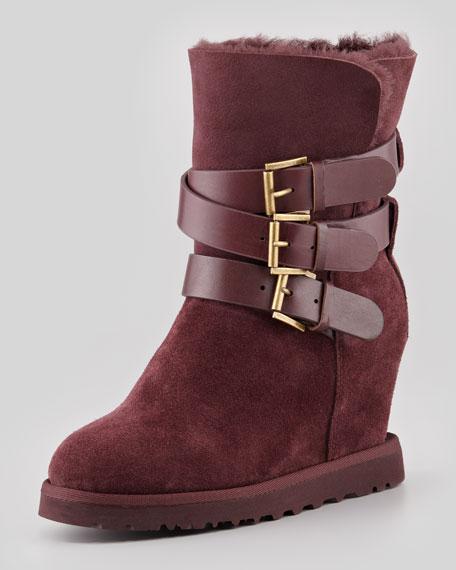 ash yes shearling cuff wedge boot burgundy