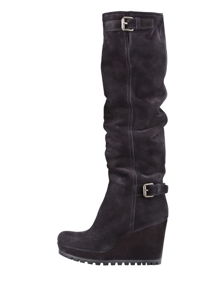 Suede Double-Buckle Wedge Knee Boot