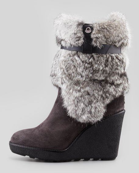 Pauline Fur-Shaft Wedge Boot