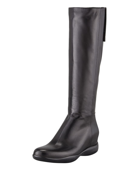 Leather Chunky-Sole Knee Boot