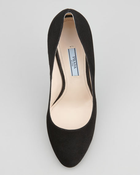 Suede Round-Toe Pump, Black
