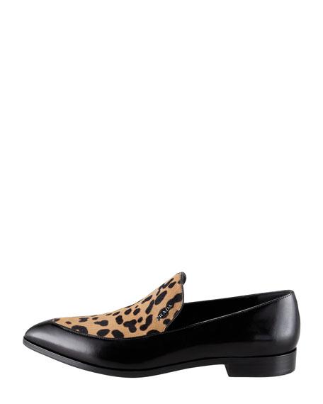 Spazzolato Leopard-Print Loafer