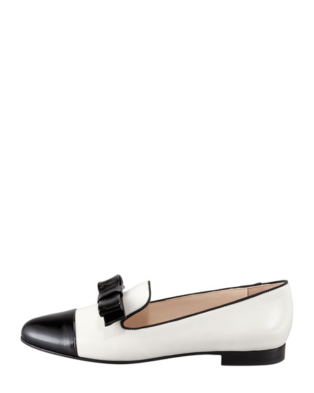 Bicolor Bow Loafer, Black/White