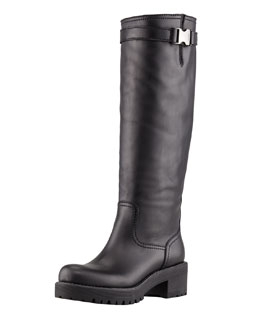 Prada Leather Back-Zip Knee Boot