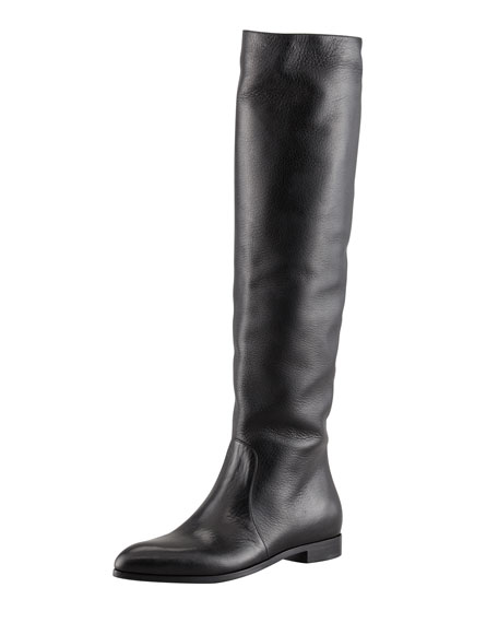 Tall Leather Point-Toe Boot, Black