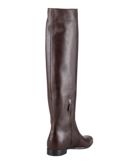 Tall Leather Point-Toe Boot, Dark Brown