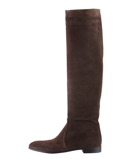 Suede Pointed-Toe Knee Boot, Gray