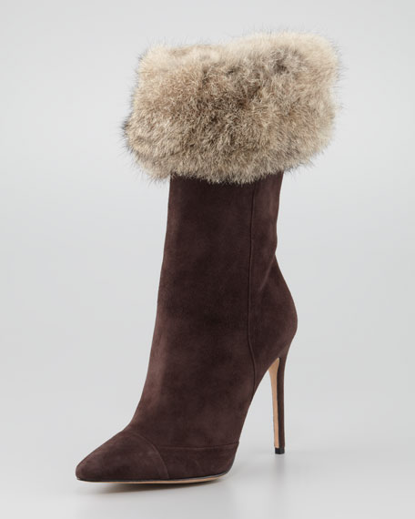 Suede Mid-Calf Fur Boot