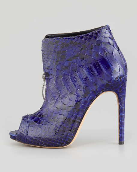 Zip-Front Peep-Toe Python Bootie, Twilight Blue